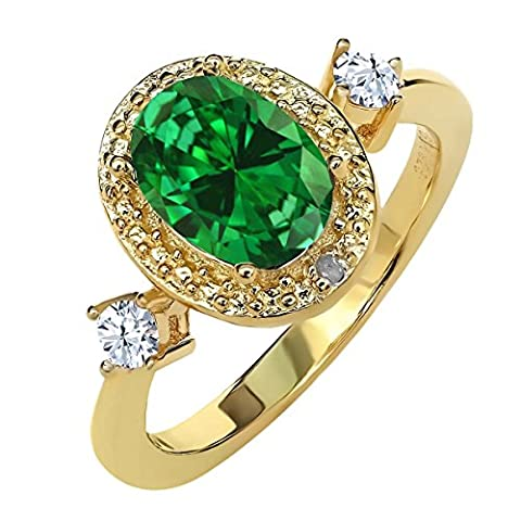 2.21 Ct Green Simulated Emerald White Created Sapphire 18K Yellow Gold Plated Sterling Silver Diamond Accent Ring With Accent - Sterling Silver Diamond Antique Ring