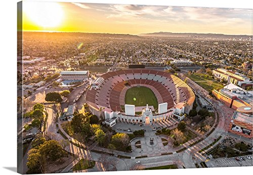 Copterpilot Photography Premium Thick-Wrap Canvas Wall Art Print entitled Aerial View of Los Angeles Memorial Coliseum, California 24