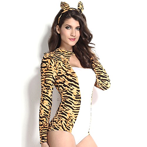 Slocyclub Women's Cute Cheetah Luscious Halloween Costume Leopard Suit (70s Cop Costume)