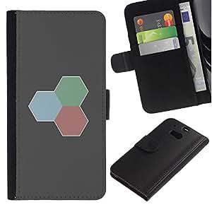 LECELL--Cuero de la tarjeta la carpeta del tirón Smartphone Slots Protección Holder For HTC One M8 -- Rojo Verde Azul --