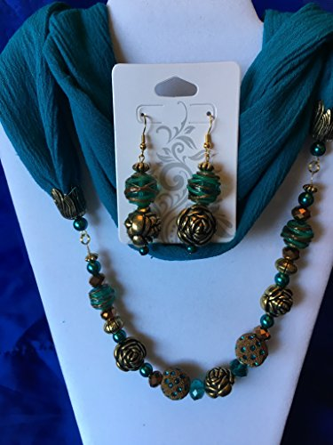 Teal and Gold Roses Beaded Infinity Scarf with matching earrings