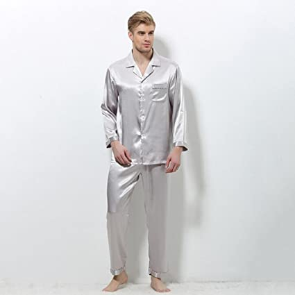 GJM Shop algodón con bolsillos albornoz ---- Primavera Y Otoño Hombres Seda Pijamas