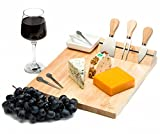 Cheese Board Set with Forks & Knives – Best Hostess And Housewarming Gift Around – Perfect Serving Plate For Charcuterie or Wine and Cheese Party - 13 x 11 Inch - w/ Bonus Porcelain Dish