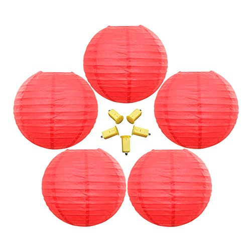 Neo-LOONS-5-Pack-10-Inch-Red-Round-ChineseJapanese-Paper-Lanterns-Metal-Framed-Hanging-Lanterns-with-Warm-White-LED-Lights-For-Home-Decor-Parties-Weddings-and-DIY