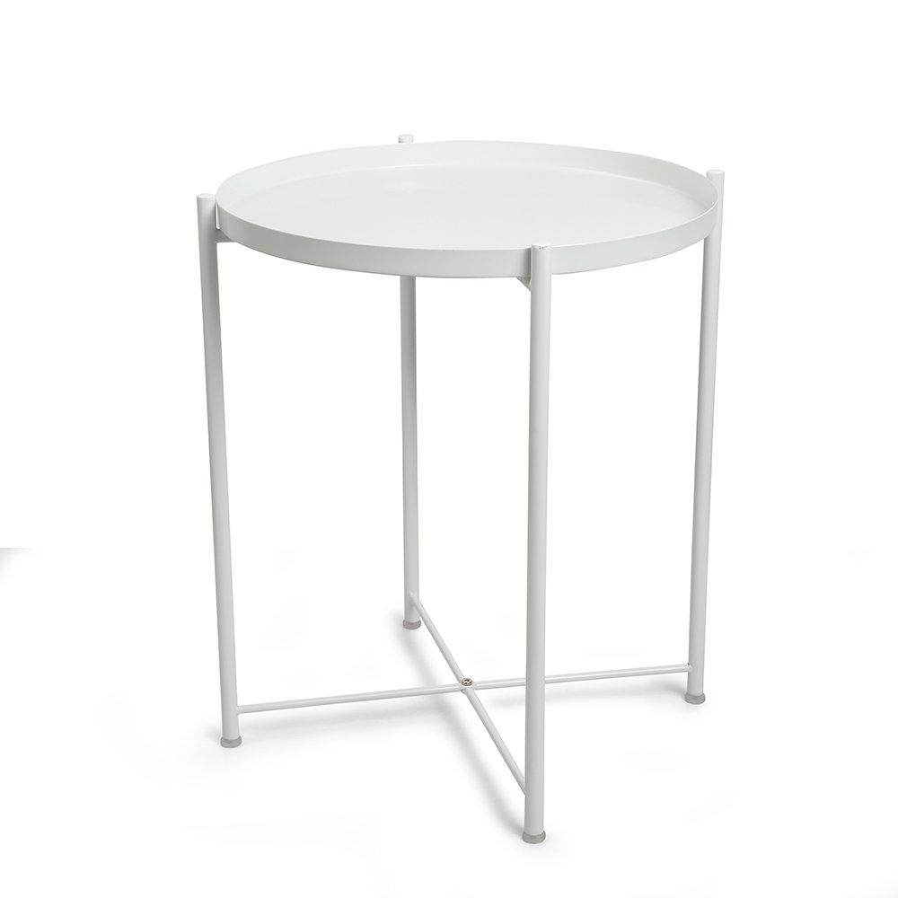 CORNERIA Folding Tray End Table - Collapsible Metal Side Table (White)