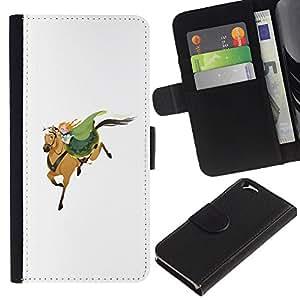 LASTONE PHONE CASE / Lujo Billetera de Cuero Caso del tirón Titular de la tarjeta Flip Carcasa Funda para Apple Iphone 6 4.7 / Horseman White Green Redhead Cute