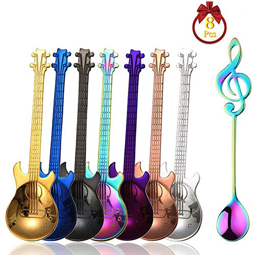 (Guitar Spoons Coffee Music Note Teaspoon Set, ESRISE Stainless Steel Colorful Dessert Spoon, Cute Demitasse Tea Scoop for Stirring Drink Mixing Milkshake Jam (7 Guitar Spoons & 1 Musical)