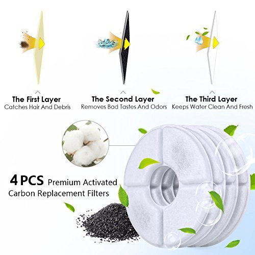 PEDY Cat Water Fountain Relacement Filters, Activated Carbon Water Dispenser Filters 4 Pack, Compatible with Pet Flower Water Fountain for Dogs and Cats