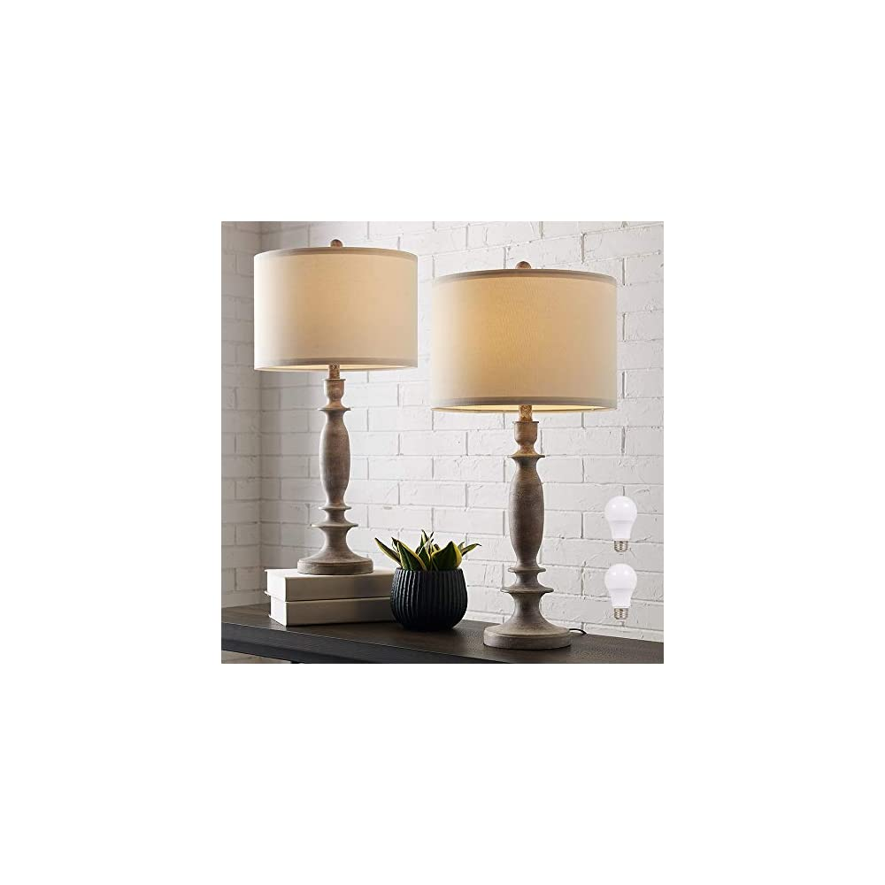 """29""""H Table Lamp Set of 2 for Living Room or Bedroom, 9.5W LED Bulbs Included, Large Tall Farmhouse Wood Finish Table Lamps with White Linen Shade"""