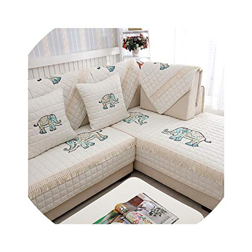 Sofa Slipcovers Embroidered Butterfly Sofa Covers Non-Slip Quilted Corner al Sofa Cover Slipcover One/Two/Three Seat Decoration,Creamy White 2,90X90Cm 1 Piece