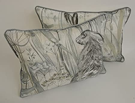 """Sanderson - Dune Hares - Mist/Pebble - Cushion Covers Self Piped (18"""" x 12""""): Amazon.co.uk: Kitchen & Home"""