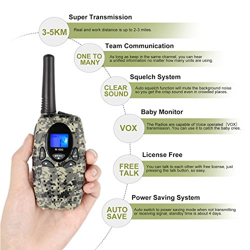 2 Way Radios Camping Accessories, Topsung M880 FRS Walkie Talkie for Adults Long Range with Mic LCD Screen / Portable Wakie-Talkie with 22 Channel for Children Hiking Hunting Fishing (Camo 2 Pack) by Topsung (Image #6)
