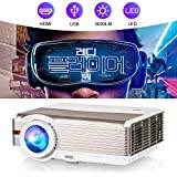 WIKISH Video Projector 200 Inch Display,5000 Lumen Led Projector with Hdmi Usb Av Vga for Indoor Outdoor Movie Home Theater Ps4 Dvd Player Laptop Pc