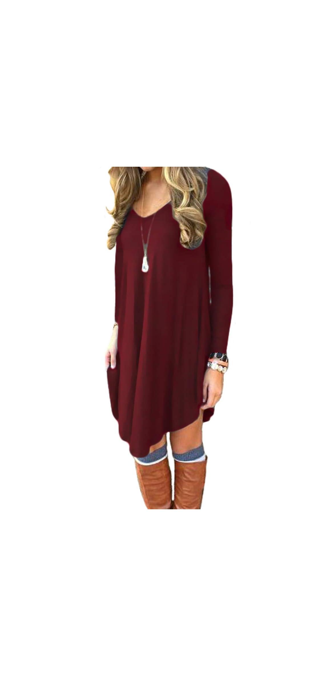 Women's Long Sleeve Casual Loose T-shirt Dress