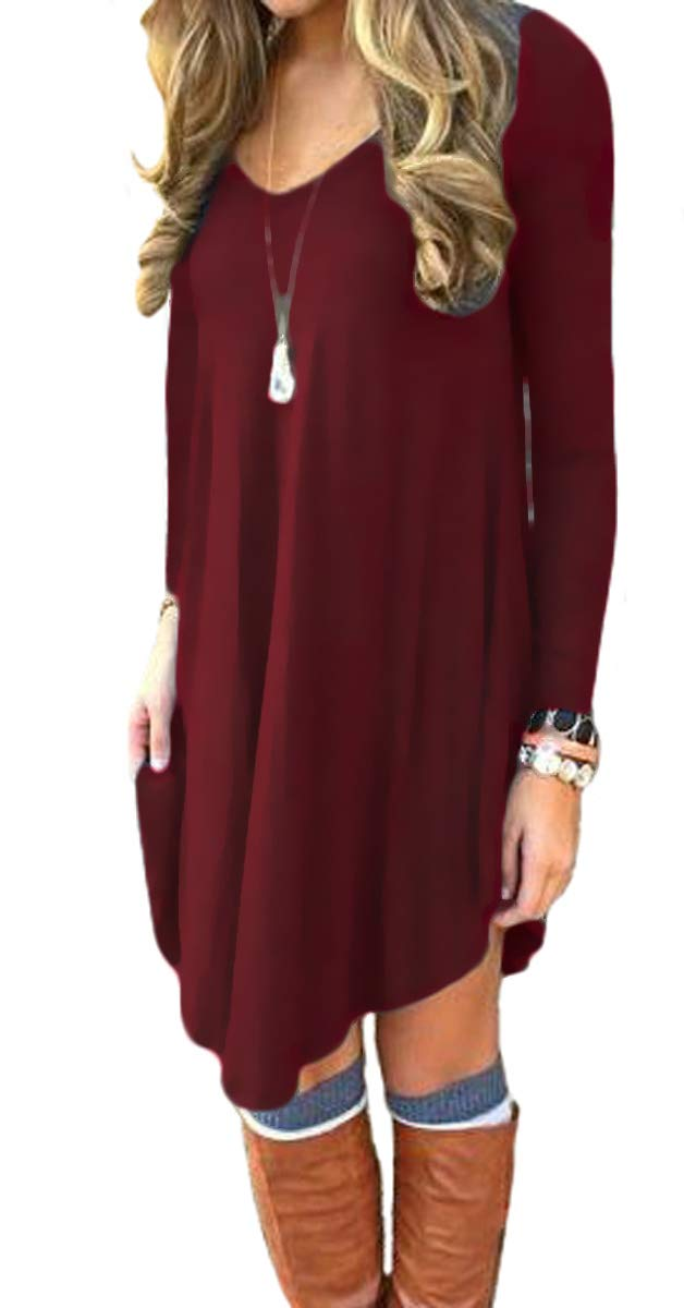 DEARCASE Women's Loose V-Neck Long Sleeve Stretch Solid A-Line Tunic Dresses Wine Red M