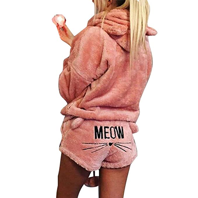Minetom Mujer Otoño Invierno Pijama de Dos Piezas Conjunto Suave ...