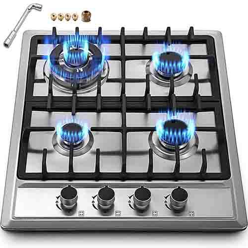 "Happybuy 23""x20"" Built in Gas Cooktop 4 Burners Stainless Steel Stove with NG/LPG Conversion Kit Thermocouple Protection and Easy to Clean"
