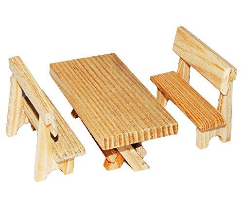 3 tlg. Set: Tisch + Bänke aus Holz - Miniatur / Maßstab 1:12 - z.B. als Gartenmöbel Möbel - Küchenbank / Gartenbank Sitzbank Küchenmöbel oder Garten / Zubehör Puppenstube / Puppenhaus - Bänke