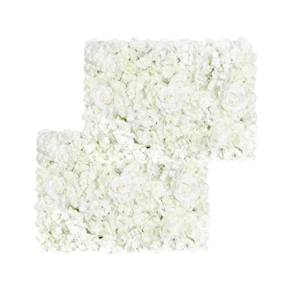Pauwer Artificial Flower Wall Panels 2 Pack of 16 x 24″ Flower Wall Mat Silk Rose Flower Panels for Backdrop Wedding Wall Decoration (White)