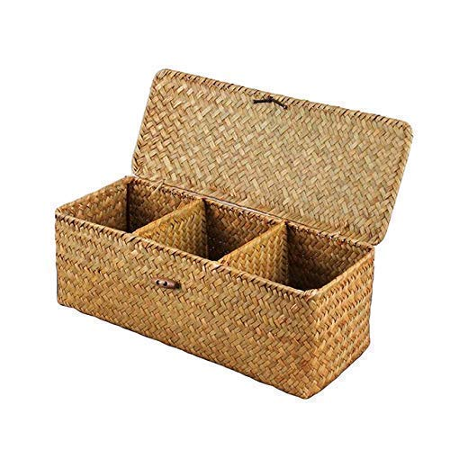 (3 Grids Hand-Woven Water Hyacinth Baskets With Lid, Straw Storage Basket)