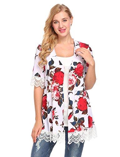 Women Boho Lace Kimono Cardigan White - 2