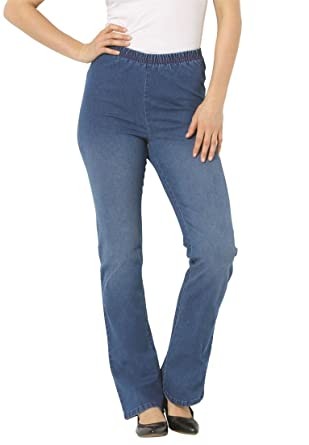 Women's Plus Size Tall Boot Flare Pull On Denim at Amazon Women's ...