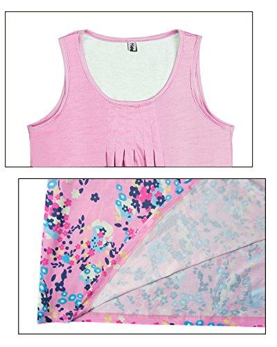 Senza Stampa Dress Donna Estate Vestito Knielang Fucsia Estate Collo Yidarton Sciolto Maniche Beach Vestito Rotondo SCqnT