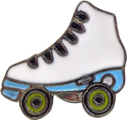 (White Roller Skate with Green Wheels Enamel Pin)