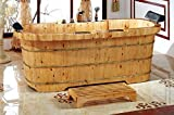 ALFI brand AB1130 65' 2 Person Free Standing Cedar Wooden Bathtub with Fixtures & Headrests, Natural Wood