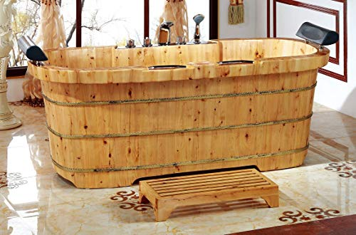 """ALFI brand AB1130 65"""" 2 Person Free Standing Cedar Wooden Bathtub with Fixtures & Headrests, Natural Wood"""