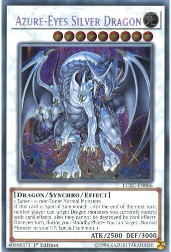 Legendary Collection Kaiba Mega Pack Yu-Gi-Oh! Single Card YuGiOh LCKC-EN066 1st Ed Azure-Eyes Silver Dragon Secret Rare Card