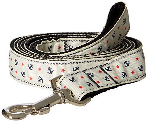 Leash Anchors Ribbon Nylon (Mirage Pet Products Anchors Nylon Ribbon Leash for Pets, 1-Inch by 6-Feet, White)