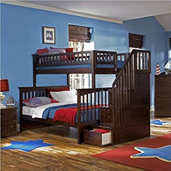 Amazon Com Columbia Staircase Bunk Bed Twin Over Full Antique