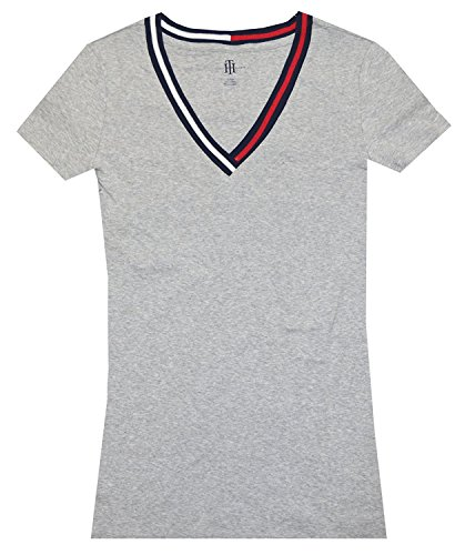 Tommy Hilfiger Women Signature Short Sleeve V-neck Logo Tee (S, - Womens S/s Tee Logo