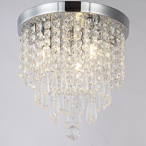 Zeefo crystal chandeliers modern pendant flush mount ceiling light fixtures 3 lights h10 2 w9 for Flush mount ceiling lights living room
