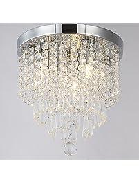 ZEEFO Crystal Chandeliers Modern Pendant Flush Mount Ceiling Light Fixtures 3 Lights H10