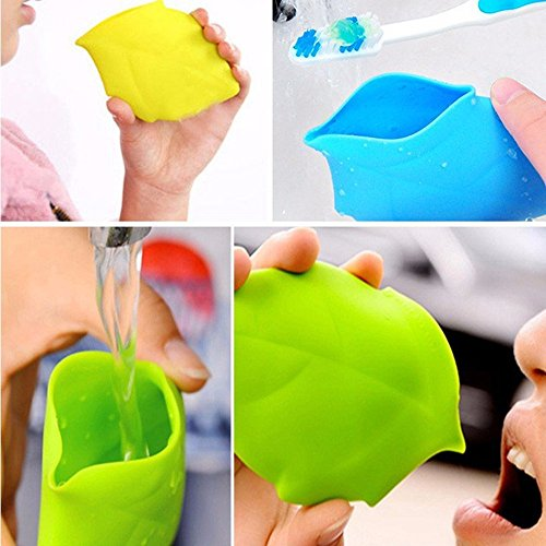 UONLY Maple Leaf Silicone Water Cup Portable Drinking Bottle Outdoor Cycling Pocket Mug Toothbrush Cover (Green)