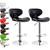 Kitchen Stools Chairs WOLTU ABSX1002blk Contemporary Black Bar Stools Adjustable Synthetic Leather Seat and Back Swivel Hydraulic upholstered Kitchen Stools Chairs Metal Frame,Set of 2