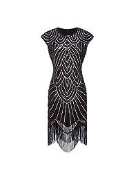 Ez-sofei Women's Vintage Sequined Embellished Tassels Gatsby Flapper Cocktail Dresses