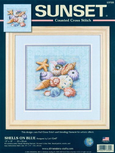 - Dimensions Needlecrafts Counted Cross Stitch, Shells On Blue