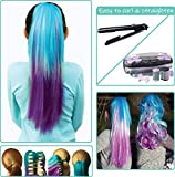 Mermaid Color Hair Extensions for Kids - Temporary & Not Messy like Hair Chalk - Great Easter Gift for Kids, Girls & Teens(16''-18'''' Ponytail, Ombre Mermaid)