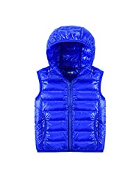 Uirend Lightweight Packable Hooded Puffer Boys Girls Sleeveless Down Vest Gilet