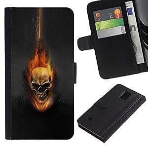 All Phone Most Case / Oferta Especial Cáscara Funda de cuero Monedero Cubierta de proteccion Caso / Wallet Case for Samsung Galaxy Note 4 IV // Dark Flam Skull