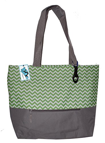 (XL Beach Tote Chevron Print Weekender Bag with Mesh Webbed Handles and Outer Zippered PocketCan Be Personalized (Blank, Lime Green))