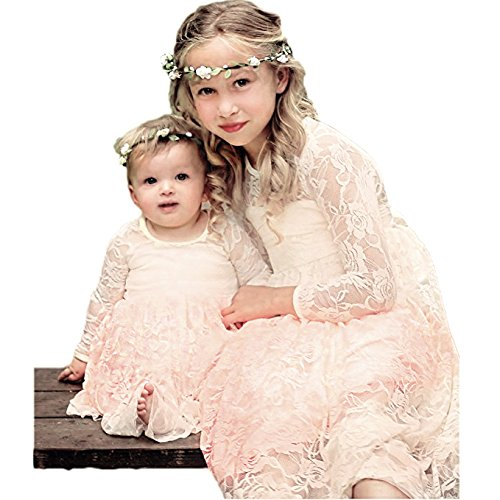 CQDY White Lace Flower Girl Dress Long Sleeves Princess Communion Dresses for 2-13T (Champagne, (100 Floors Halloween 13)
