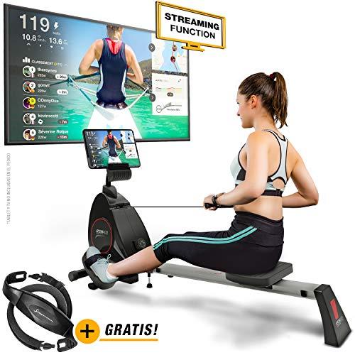 Sportstech RSX400 Máquina de Remo – Marca de Calidad Alemana -Eventos en Directo y App multijugador, pulsómetro Incl…