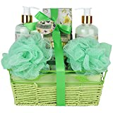 Relaxing Bath Spa Kit For Women and Teens, Gift Set Bath And Body Works- Natural Magnolia-Tuberos Aromatherapy Spa Gift Basket Includes Shower Gel, Bubble Bath, Body Lotion, Bath Salt and a Bath Puff
