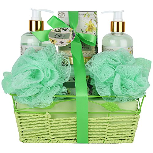 Mother's Day Gift Set, Bath and Body Set, Bath Gift Basket with Natural Magnolia - Tuberose Fragrance, For Woman Spa Gift Basket Includes Shower Gel, Bubble Bath, Body Lotion, Bath (Tuberose Bath Gel)