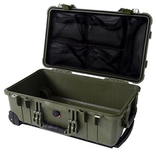 OD Green Pelican 1510 with 1519 Lid Organizer. Case is empty. With wheels. ()