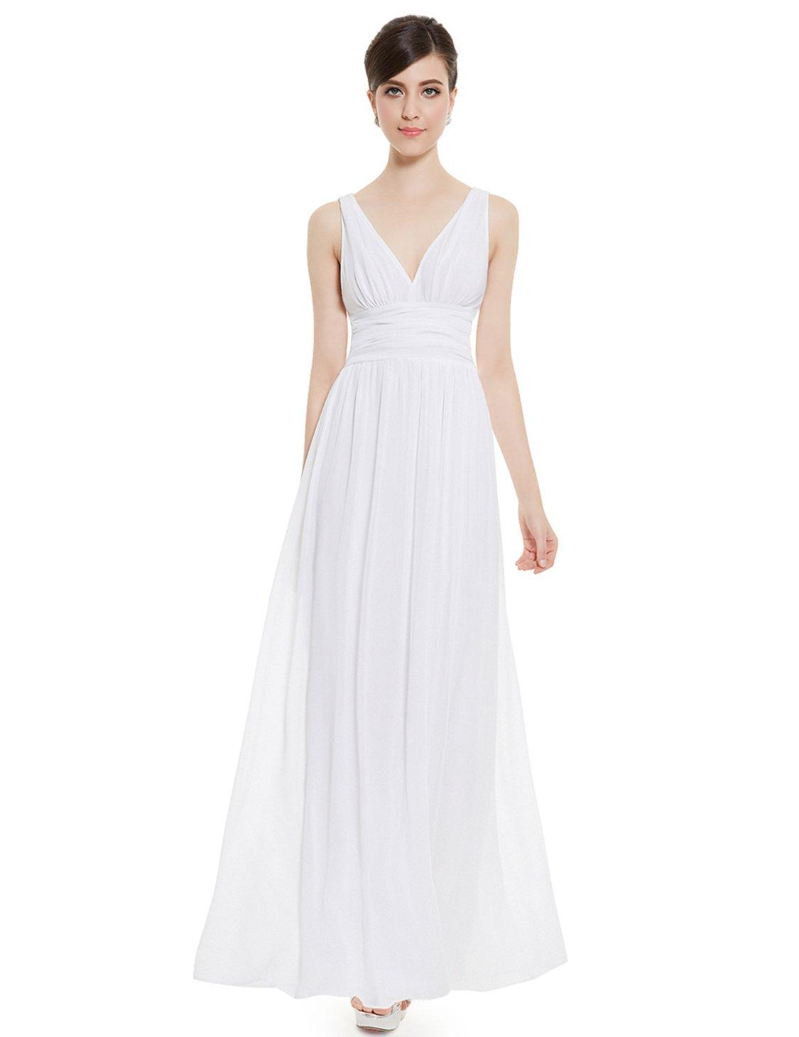 Ever-Pretty Sexy Chiffon White Dresses for Women 8US White by Ever-Pretty